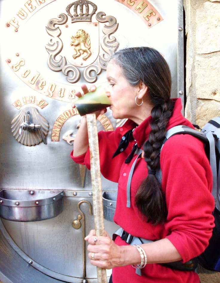 Yes - a wine FOUNTAIN! Monasterio de Irache, Navarra. The local wine producers put a fountain in their town for the pilgrims. In addition to having water like a normal fountain, pilgrims can also help themselves to a cup of wine for their long journeys ahead. Buen Camino and pass the vino!