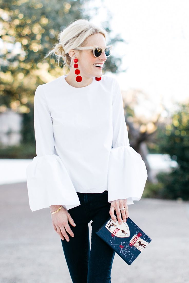 Stylist: some version of this white blouse trend? Would prefer something opaque enough that i don't have to wear a cami underneath.