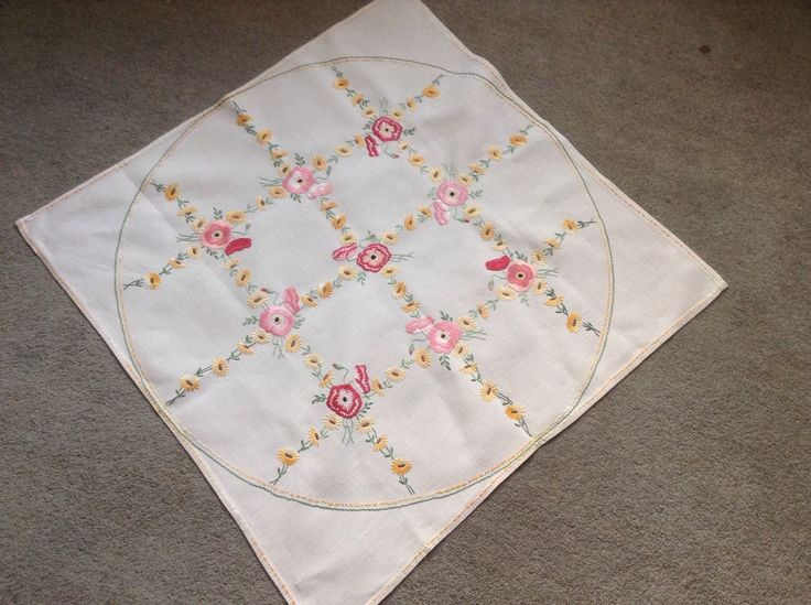 Старинные вручную вышитые садовые цветы льняная скатерть | eBay