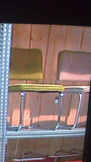 Blauw, groen en grijze stoel!