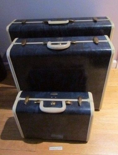 Samsonite Blue Marbled Pan Am Sponsored 3 Piece Hard Case Luggage Travel Set #Samsonite #Luggage #Travel #PanAm #Blue #VintageLuggage #HardCase #dandeepop