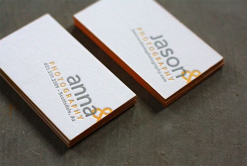 Very simple layout for a letterpress business card. The edge painting is what makes the business card stand out.