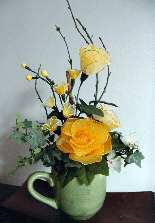 Handmade Yellow Roses Arrangement by LiYunFlora on Etsy, $25.00