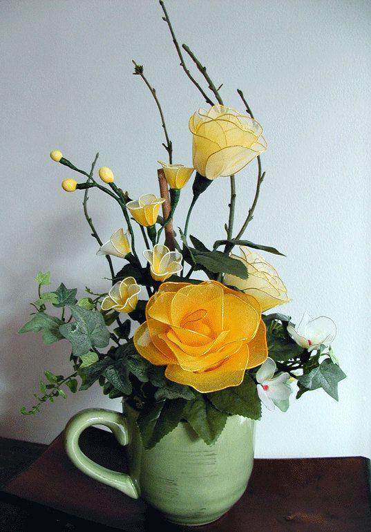 Handmade Yellow Roses Arrangement by LiYunFlora on Etsy, $25.00