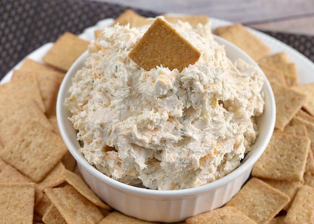 Ranch Chicken Cheese Dip is perfect for parties! Only four basic ingredients needed and it only takes a few minutes towhip up!