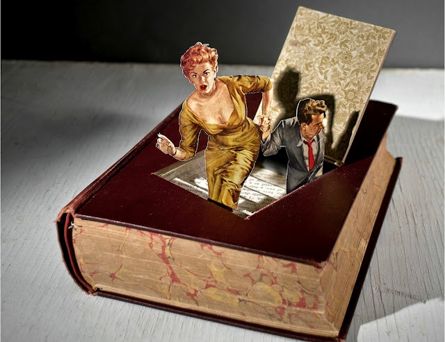 Thomas Allen recreates scenes in the style of classic cinema. Cutting books with skill, making appear very vintage and colorful silhouettes which are telling us a story.. Delicatessen!