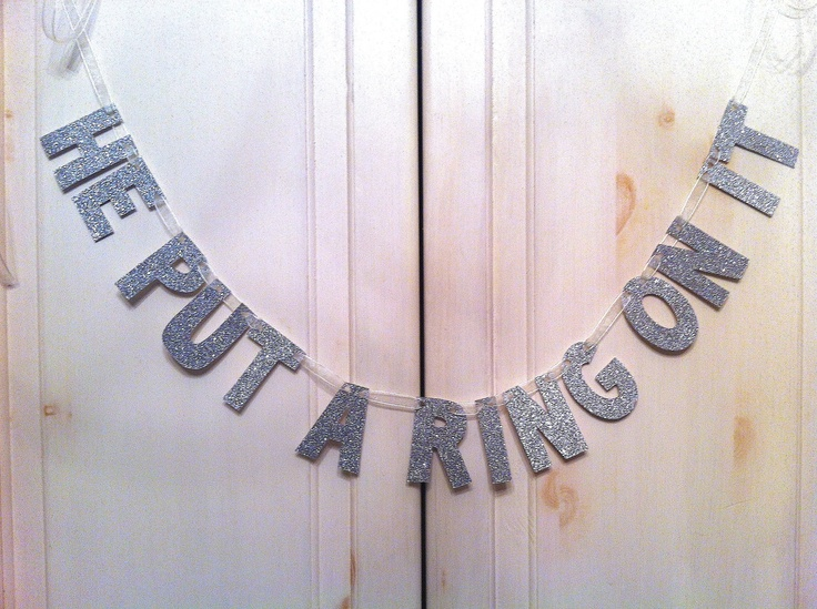 He put a ring on it glitter banner bridal shower or for Bachelorette decoration