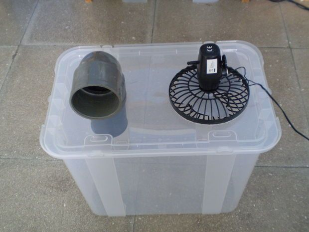 Simple, cheap air conditioner. You put ice in it, then turn on the fan... And you get cool air for your tent!  (Don't forget a power source).  You just have to keep loading it with ice!  Oh, and stop grabbing the ice for your margaritas! #camping