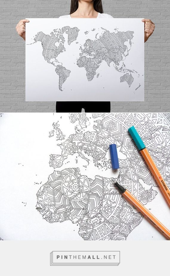 Mandala World Map Coloring Poster Maps Map Coloring Pages