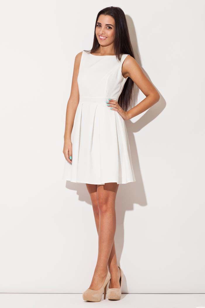 Rozkloszowana sukienka bez rękawów ecru