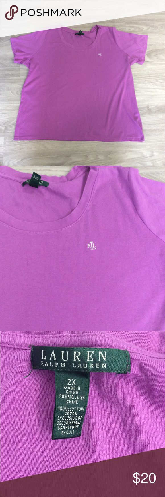 """LRL Lilac Purple Short Sleeve Tee Monogram Size 2X Up for sale is this pretty Lauren Ralph Lauren purple t shirt! This is the perfect pop of color for this summer!  Women's Size 2X Armpit to Armpit 25"""" Shoulder to Hem 27"""" Sleeve 8""""  CONDITION: Great Condition! Please see photos. Lauren Ralph Lauren Tops Tees - Short Sleeve"""