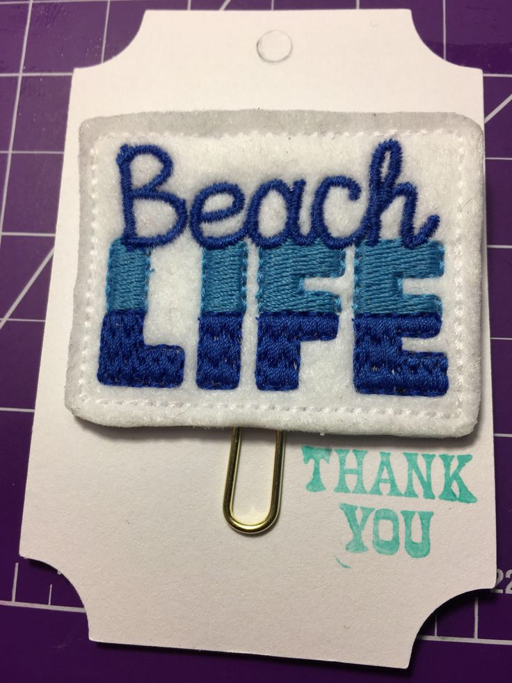 A personal favorite from my Etsy shop https://www.etsy.com/ca/listing/540475673/beach-life-quote-feltie-clip