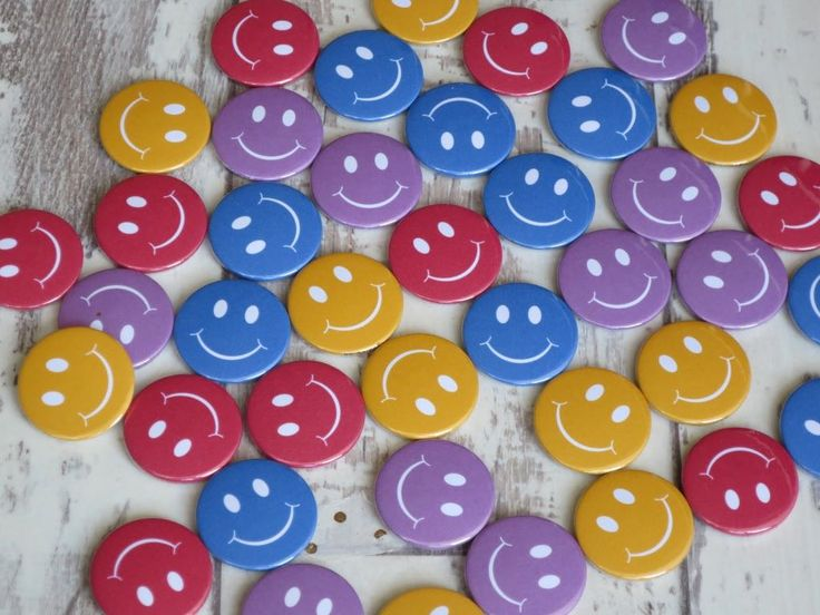 Colourfule smiley face button badges. All of our badges are 25mm button badges. … – Button badges