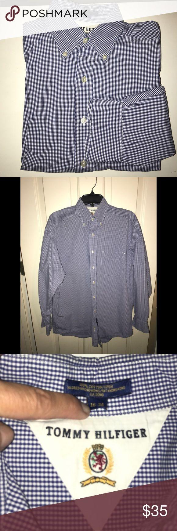 EUC💜TOMMY HILFIGER💜Checkered Casual Shirt EUC💜TOMMY HILFIGER 💜White / Blue Checkered Button down Long Sleeve Casual Dress Shirt. Size - 16 Neck, 34 Sleeve.  100 % Cotton. Original cost $95 Tommy Hilfiger Shirts Casual Button Down Shirts