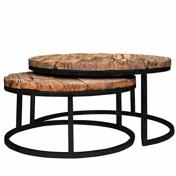 Luxury Luxe Kensington Reclaimed Wood Industrial Nest of Round Coffee Tables