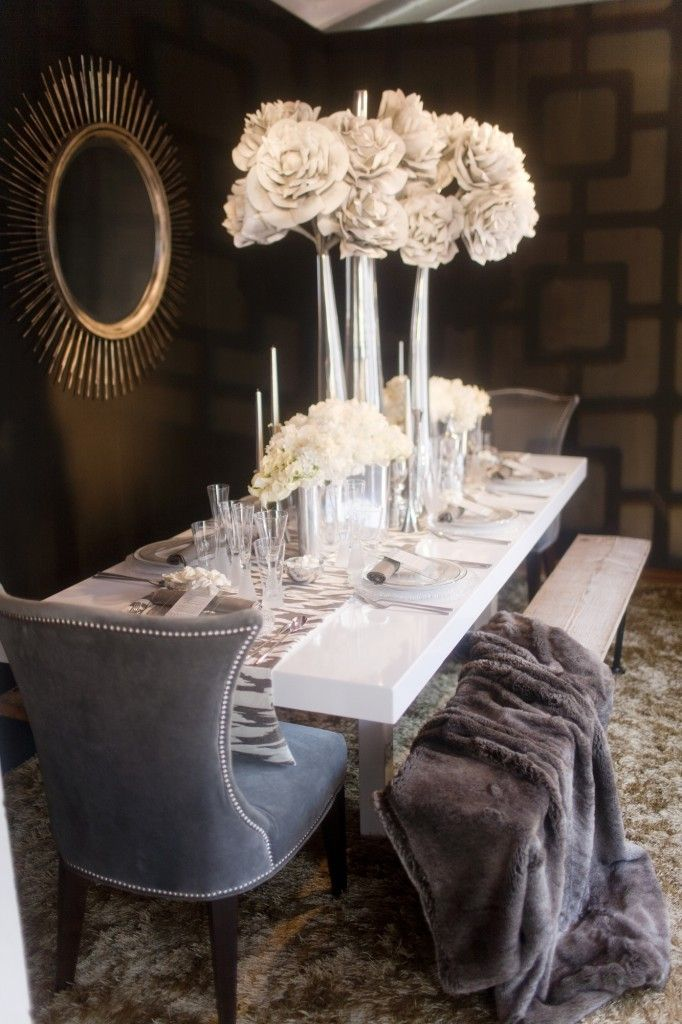 sparkles to accent the color pallet of warm greys and whites