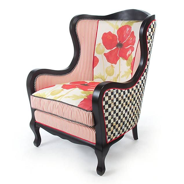 MacKenzie Childs   Poppy Wing Chair Maybe With Blue Instead Of Pink