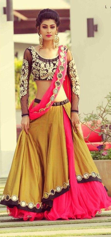 Pink And Brown Tafetta Silk Plain Border Work Semi Stitched Lehenga with beautifully designed full sleeve blouse