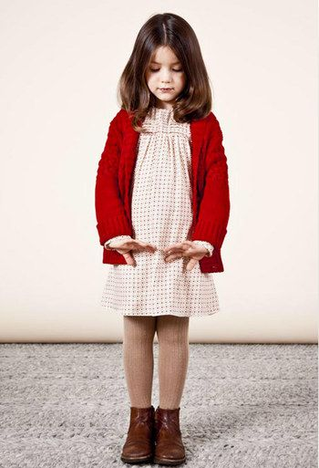 Chloe Kids: Love the slouchy cardigan over the dress and chunky tights.