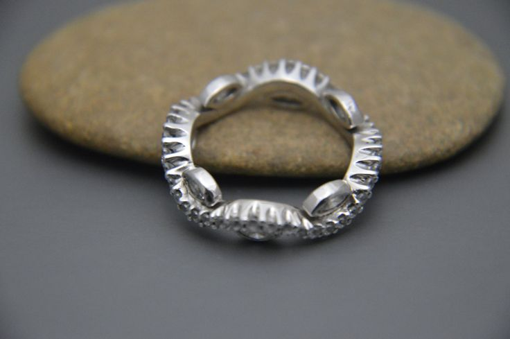 Wave eternity Band 925 sterling silver AAAAA grade cubic zirconia clear stones by IsaBellaJewellery on Etsy