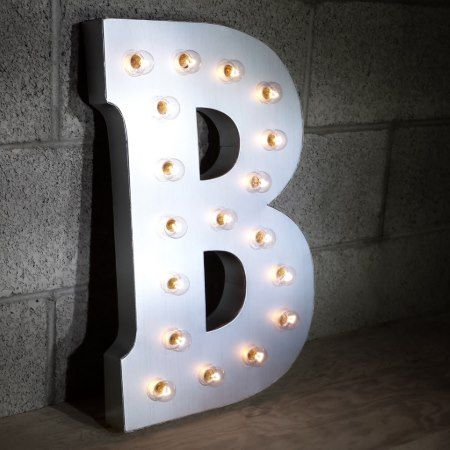 Custom 21' Metallic Silver  Letter  'B' Vintage Ma - click/tap to personalize and buy