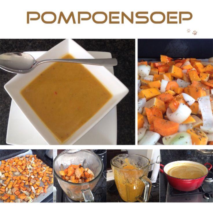 Pompoensoep.750 gram pompoen 1 winterpeen 6 tenen knoflook 1 ui 1,5 liter kippenbouillon rozemarijn tijm olijfolie peper en zout Eventueel 200 gr. rode linzen aan de bouillon toevoegen en in 20 min. Gaar laten worden, om er een maaltijdsoep van te maken. Hak de pompoen en winterpeen in grove stukken en snijd de vieze plekken van de schil weg. Pak een bakplaat, bedek die