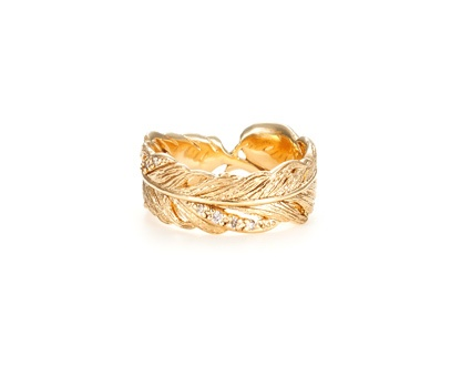 agete feather motif ring