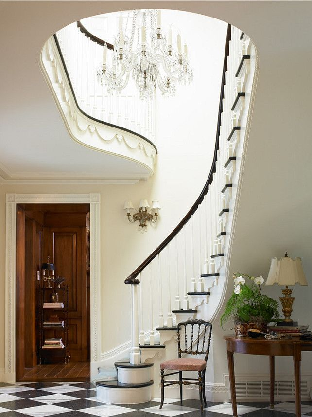 """French Interiors. Inspiring French Interiors. French Homes. The paint color in this French foyer is """"Farrow & Ball No. 1 Lime White"""". #Frenc..."""
