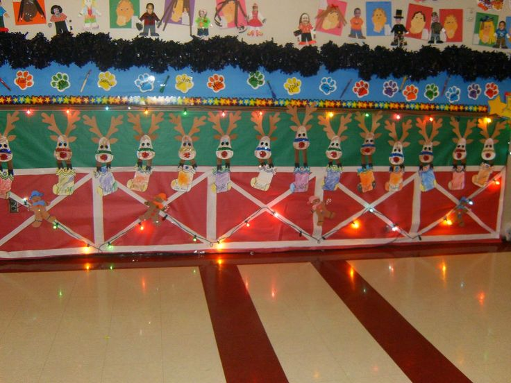 Classroom Decorations Bulletin Boards ~ Reindeer stable christmas classroom hallway display c