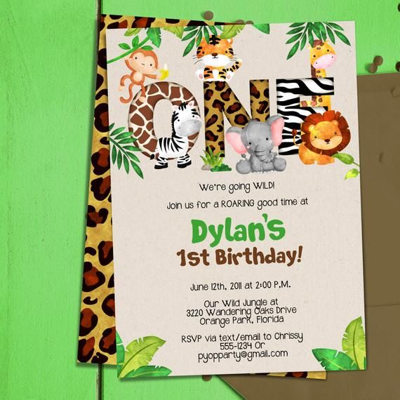 Jungle 1st Birthday Party Invitation Template Jungle Animals Etsy In 2021 Party Invite Template Safari Invitations Birthday Party Invitation Templates