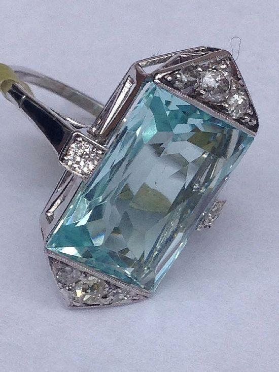 Art Deco Aquamarine & Diamond Ring by Makia55