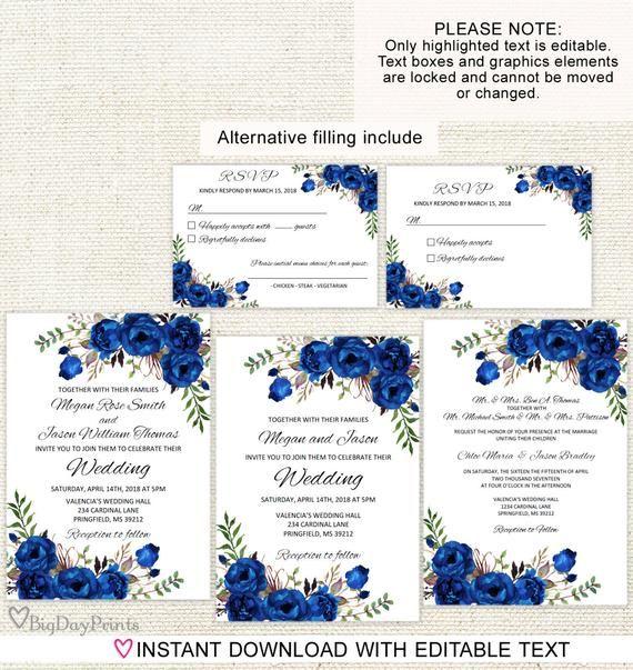 Royal Blue Wedding Invitation Template Boho Chic Wedding Etsy Royal Blue Wedding Invitations Blue Wedding Invitations Chic Wedding Invitations