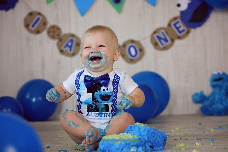 One Year Cake Smash. Cookie monster birthday.