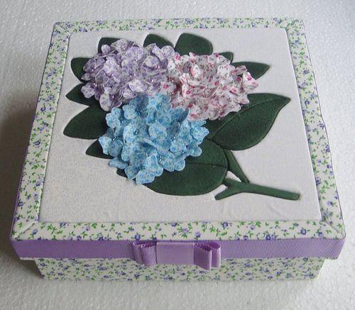 Patchwork embutido-Caixa de Hortencias