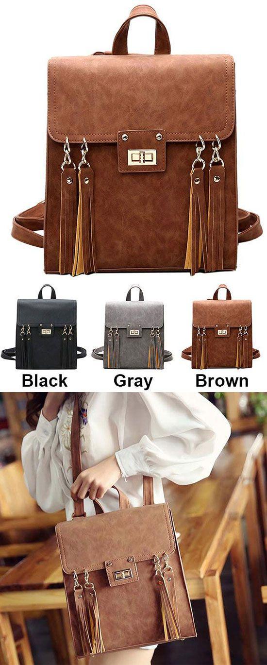 Retro Frosted Tassels Flap Square PU Street Style Multifunction Shoulder Bag Backpack for big sale! #tassel #pu #retro #school #college #bag #backpack #student #fashion #women #girl #travel