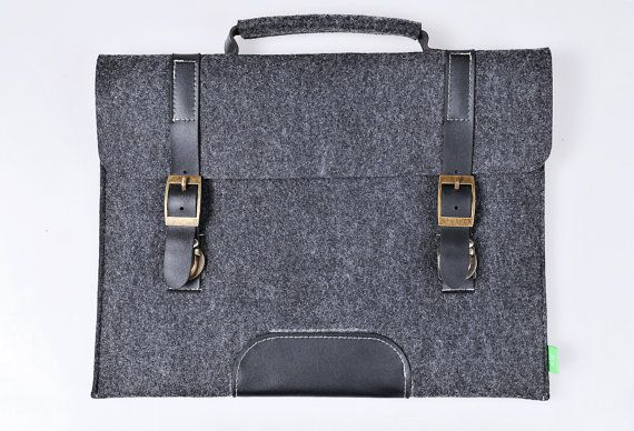 Macbook pro 13 inch Macbook Sleeve Case  brief Wool Felt Custom Made Felt Case Sleeve Cover Bag with Genuine Leather Handle