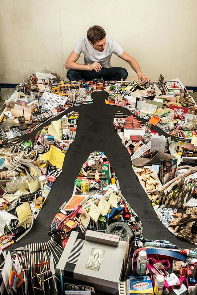Self Portrait Created from Thousands of Meticulously Arranged Objects