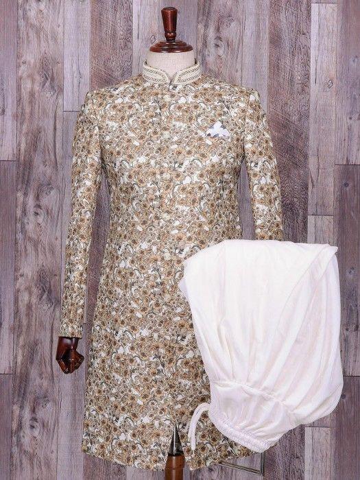 Terry Rayon Cream Printed Wedding Wear Indo Western, cream, wedding, mens fashion, groom, printed