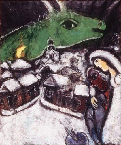 <초록색 밤>, 1952 캔버스에 유화 파리, 개인 소장  작품 오른쪽에서 화가가 눈 덮인 러시아 도시를 바라본다. 성당의 종탑 덕분에 그곳이 어디인지는 쉽게 알아볼 수 있다. 화가는 손에 팔레트를 들고 있으며, 신부의 의상을 입은 아내가 그를 지켜주는 듯 포옹하고 있다. 마을 위로 거대한 염소의 머리가 떠 있다. 유순한 눈으로 마치 수호신처럼 등장하는 염소는 러시아 땅에서 살아가는 유대 가정을 연상시킨다. 유령 같으면서도 지켜주는 듯한 거대한 염소는 샤갈의 다른 작품들에도 종종 등장한다.