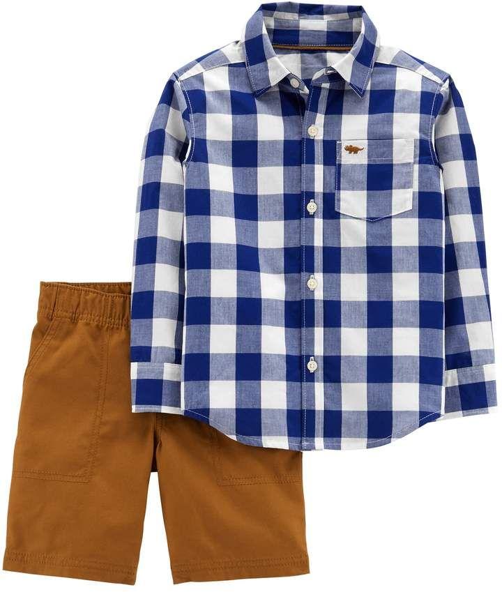 7ecc29996 Baby Boy 2-pc. Checked Button Down Shirt   Woven Shorts Set  set blue shirt