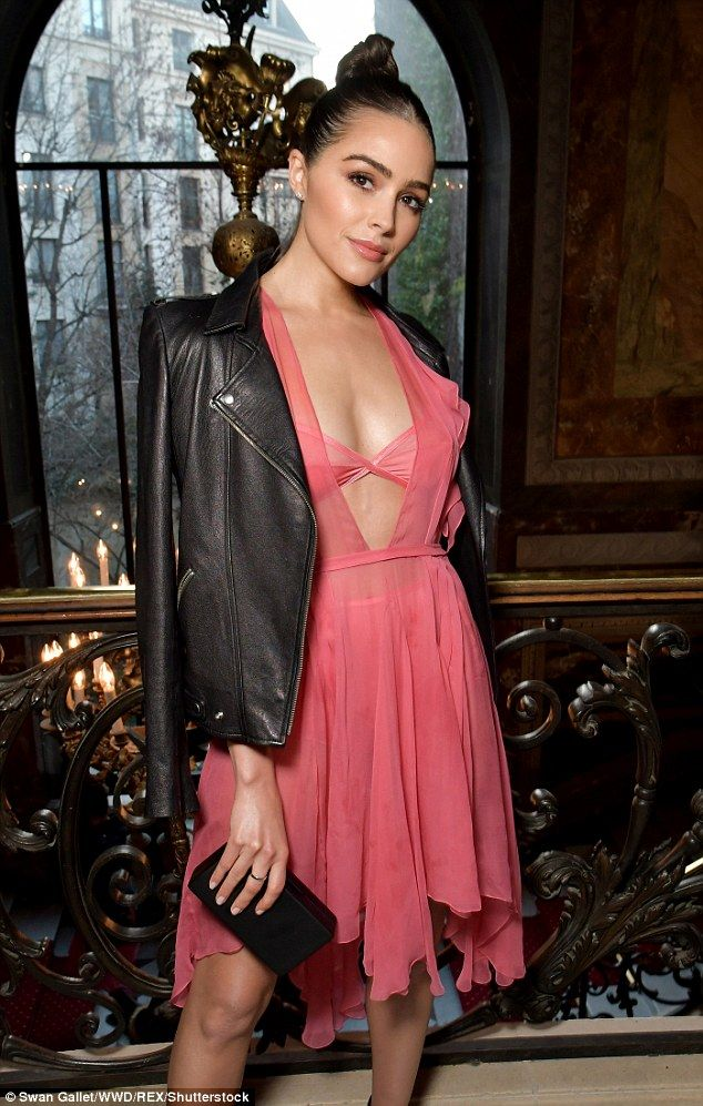Sexy stuff: Olivia Culpo made no exceptions as she headed to the John Galliano showcase on Sunday, where she was spotted in a sizzling sheer number while flashed the entirety of her lingerie beneath
