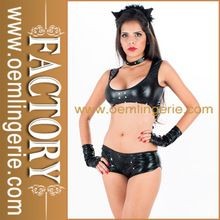 High Quality Ladies Black Sexy Faux Leather Lingerie Bra and Panty Set Best Seller follow this link http://shopingayo.space