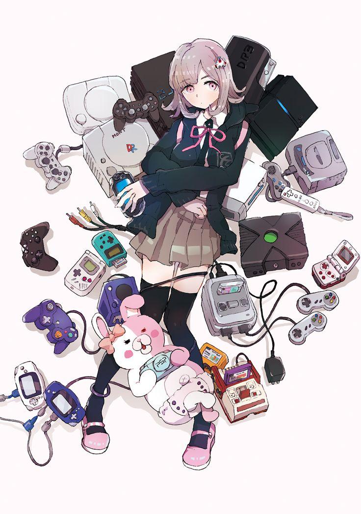 Pixiv Id 259619, Super Danganronpa 2, Monomi (Super Danganronpa 2), Nanami Chiaki, Playing, Pink Ribbon