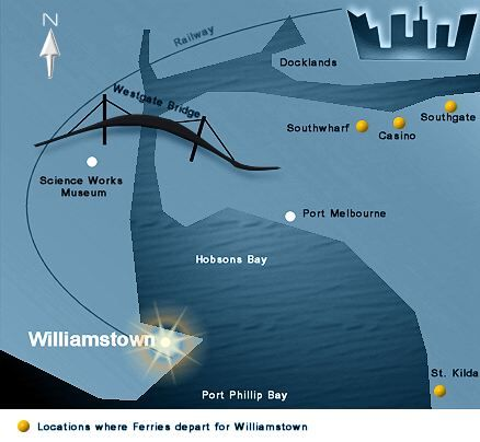 Map of Williamstown and Hobsons Bay, Melbourne Australia.