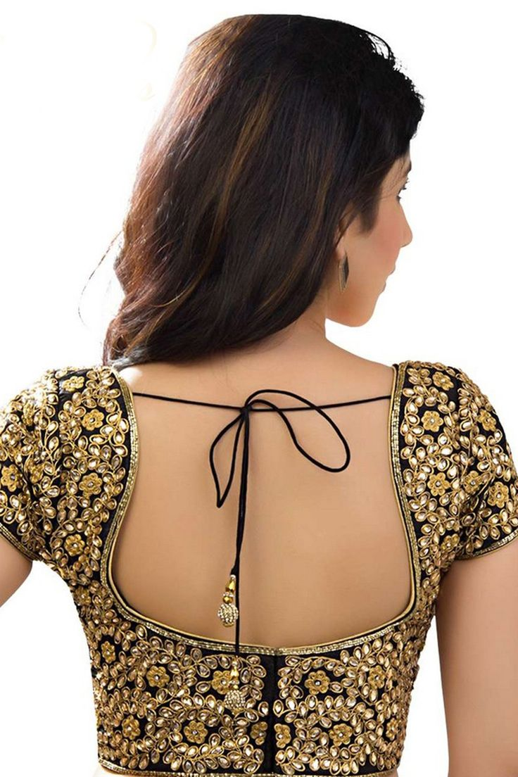 #Black & yellowish #gold raw #silk lovely #blouse with u neck -BL572