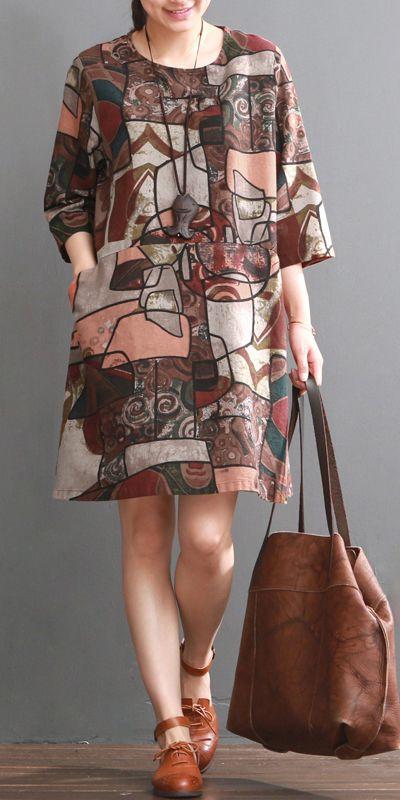 Ruby floral cotton dress pluss size cotton shirt sundresses