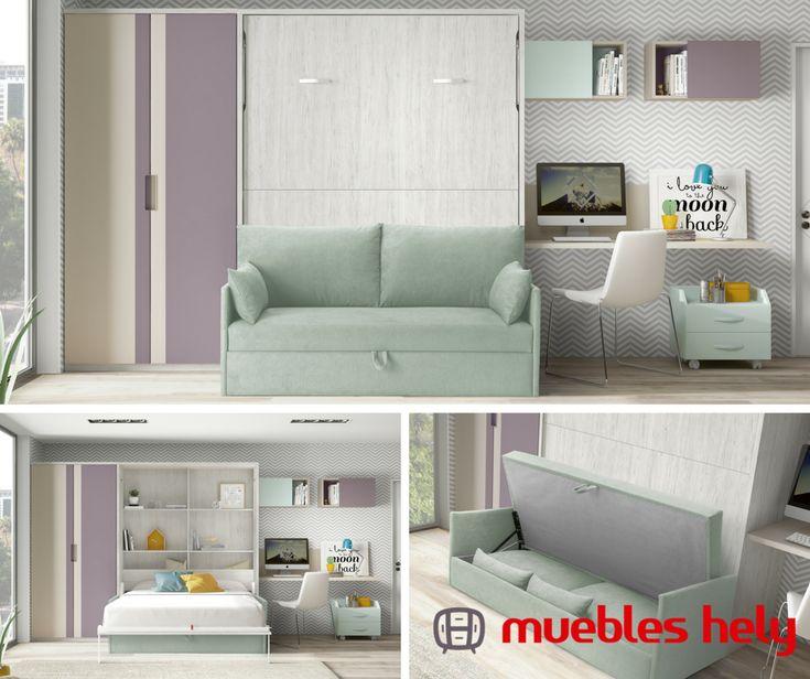 Un mueble con sofá que esconde una cama 🛏️¡Nunca en tan poco espacio pudo caber tanto!  Ven y pregúntanos por muebles abatibles para tu hogar 👉 https://www.muebleshely.es/  #muebles #dormitorios #camas #ofertas #jovenes #diseño #madrid #torrejondeardoz