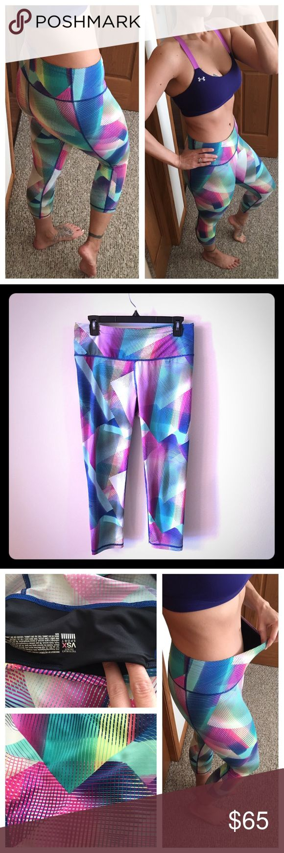 """Victoria's Secret VSX Sport knockout Capri 📦Same day shipping (as long as P.O. is open for business). ❤ Measurements are approximate. Descriptions are accurate to the best of my knowledge.  These vibrant VS capris are a multitude of colors to match with almost any color top. I love them & hate to part with them but I have dropped down to a size small in VS bottoms. Mid-rise: 76% Polymide/24% Lycra. Internal chord for cinching tighter + 3.75""""x3.75"""" back interior pocket. No holes/stains…"""