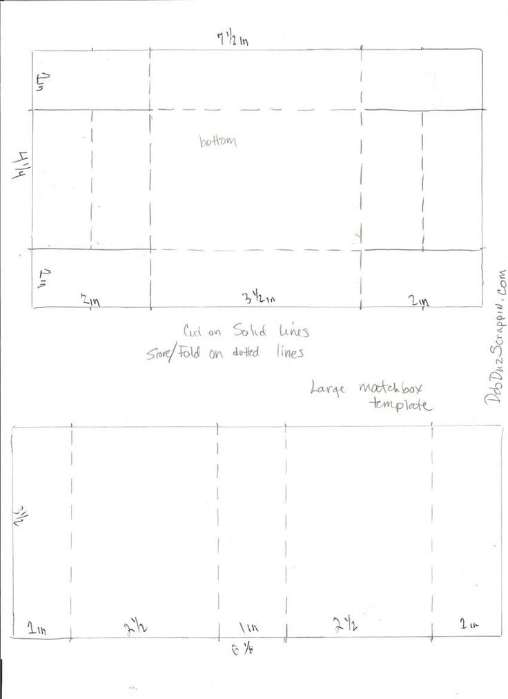 large matchbox template  so frustrating!  This is the only template i can find with measurements.