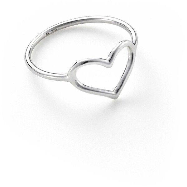 Jordan Askill Heart Ring - White Gold ($245) ❤ liked on Polyvore featuring jewelry, rings, silver, heart jewellery, white gold band ring, heart jewelry, white gold jewelry and thin rings